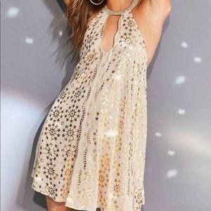 Urban Outfitters Corellia Gold Foil Trapeze Dress